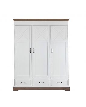 Savona Blanc / Gris avec croix - Armoire (3 portes)