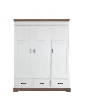 Savona Blanc / Gris sans croix - Armoire (3 portes)