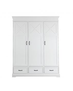 Savona Blanc avec croix - Armoire (3 portes)